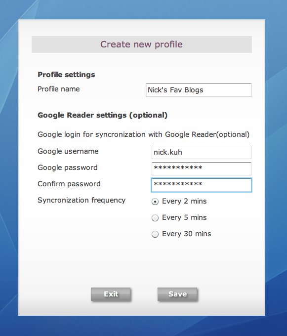 Scoop Profile settings window - enables users to add multiple rss reader accounts
