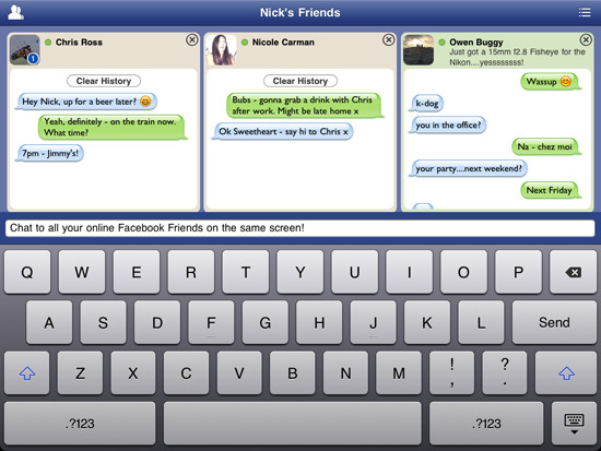 Tap to multi-Facebook Chat on iPad