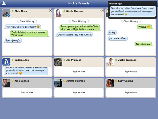 Tap to Facebook Chat on iPad