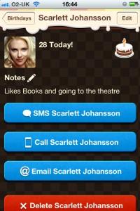 Birthday Reminder for Facebook Birthday Detail Screen