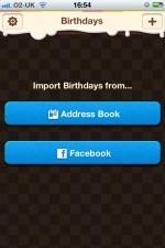Birthday Reminder for Facebook Import Screen